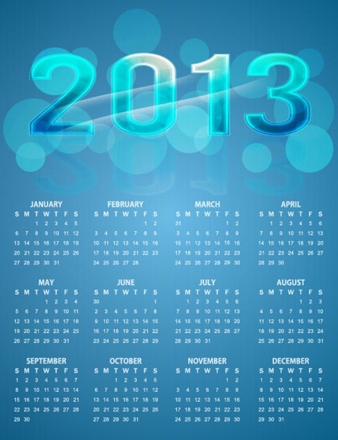 2013 Calendar Bright Colorful Blue Vector Background