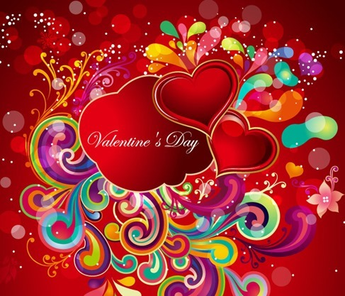 Abstract Colorful Floral with Heart for Valentine's Day
