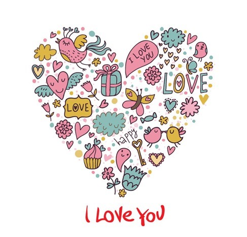 Cartoon Love Card Vector Graphic