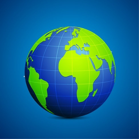 Modern Globe Blue and Green Connection Vector Illustration