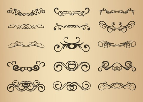 Set of Vector Vintage Floral Design Elements