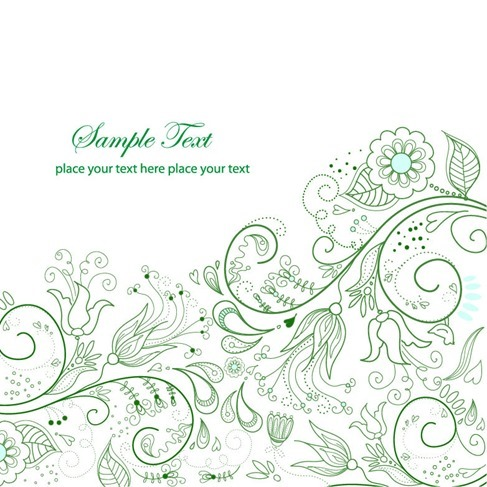 Spring Green Floral Background Vector Illustration
