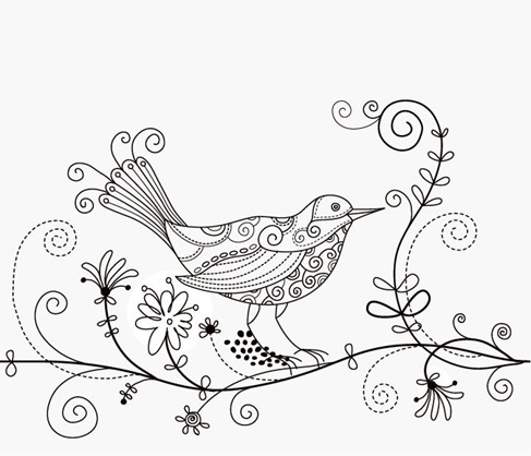 Bird Floral Background Vector Illustration