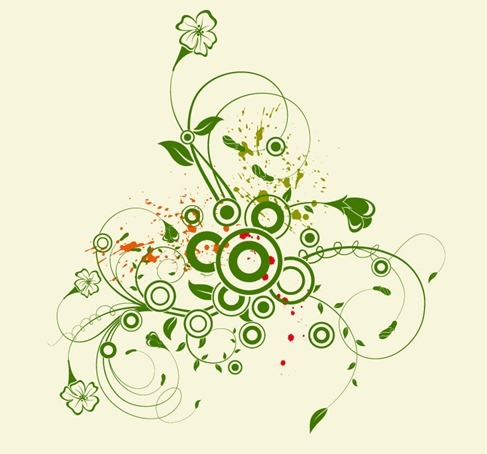 Abstract Green Floral Vector Graphic