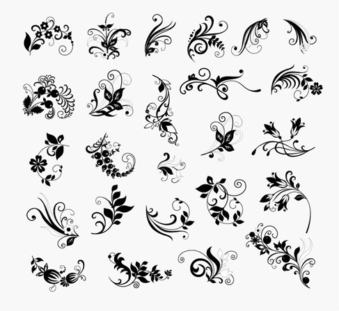 Vector Set of Floral Elements for Design