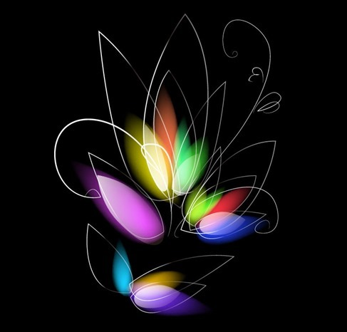 Abstract Colorful Floral on Black Background Vector