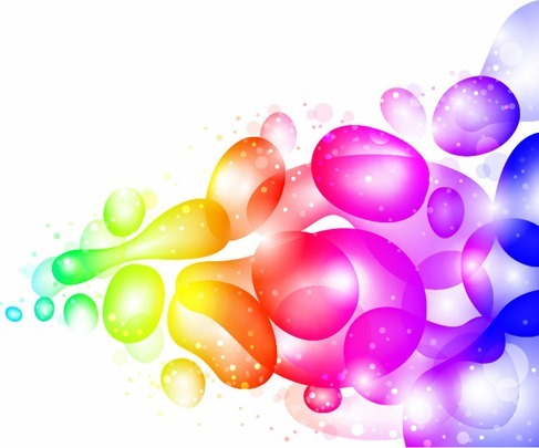Color Abstract with Transparent Bubbles and Drops Vector Background