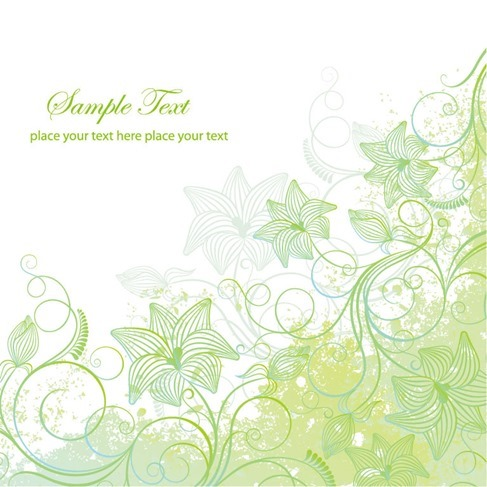 Pale Green Floral Vector Illustration