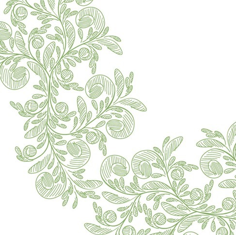 Abstract Floral with Green Pencil Vector Graphic