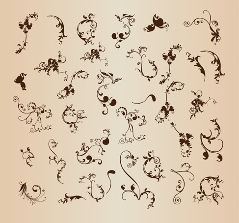 Vector Set of Floral Ornament Pattern