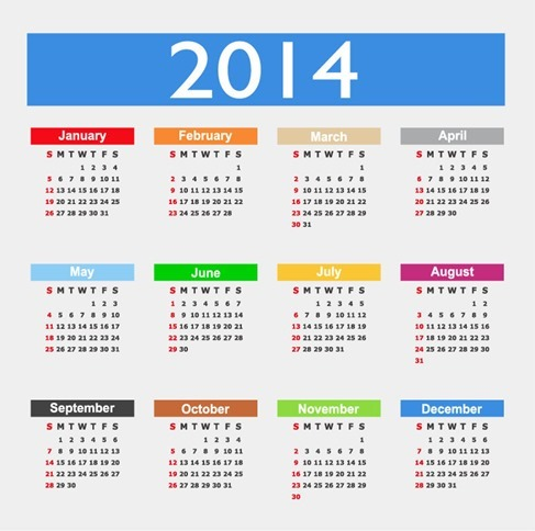 Calendar Design 2014 Year Vector Graphic