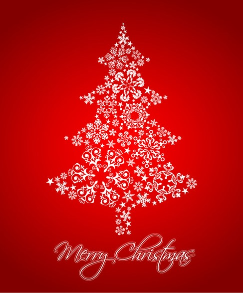 Abstract Christmas Tree with Snowflakes Vector Illustration