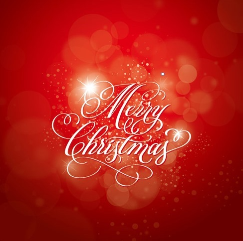Christmas Calligraphy Red Background Vector Graphic