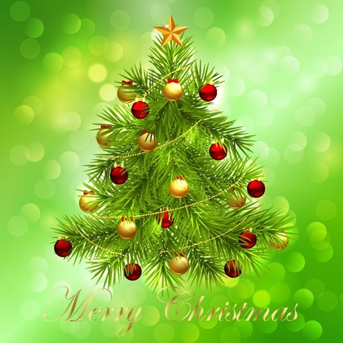 Christmas Tree on Bokeh Background Vector Graphic