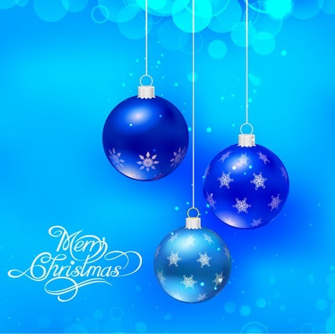 Vector Blue Christmas Holidays Background