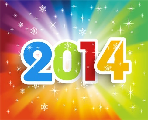 Happy New Year 2014 Colorful Background Vector Illustration