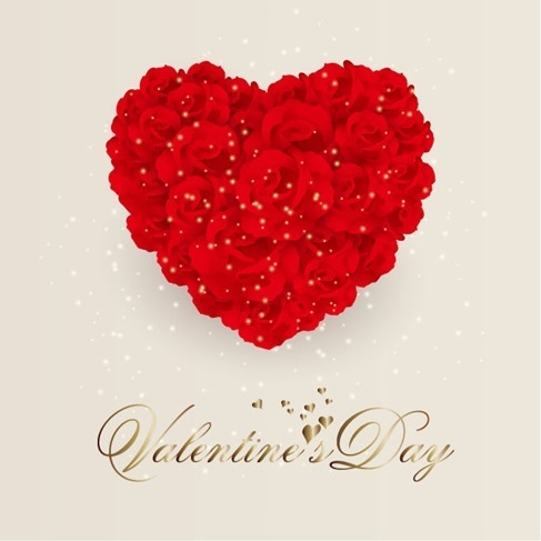 Rose Flowers Heart for Valentine Day Vector Background