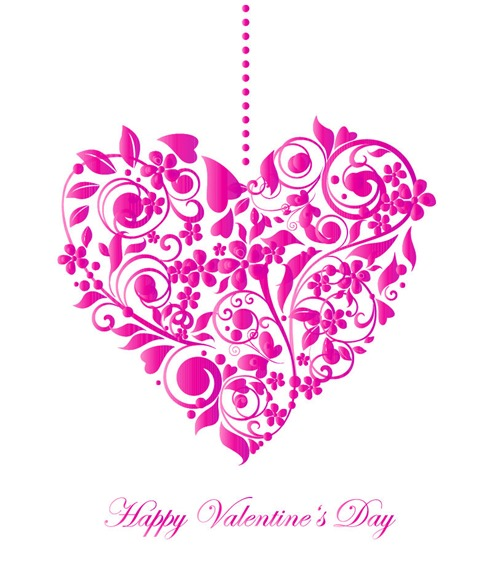 Valentine Card with Floral Heart Shape Vector Illustration