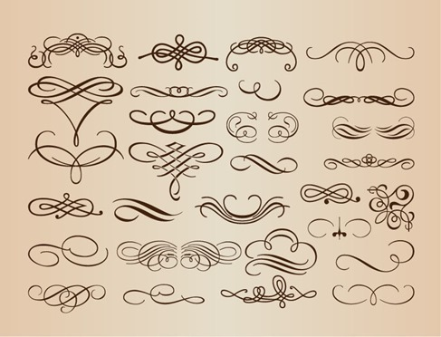 Calligraphic Vintage Design Elements Vector Illustration
