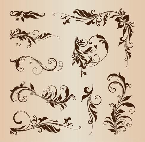 Floral Design Element Collection Vector Illustration