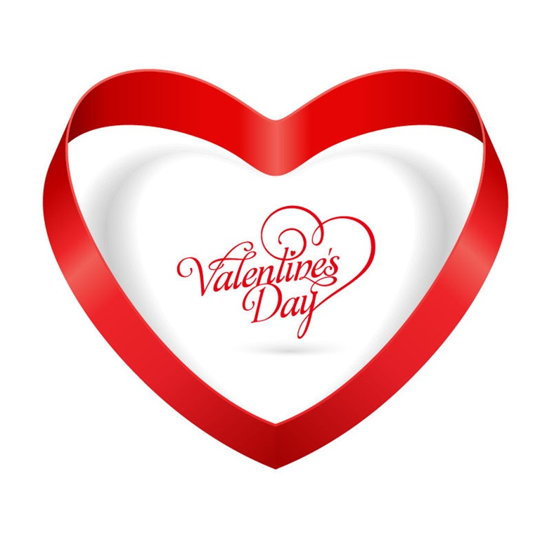 Elegant Heart Ribbon Valentines Day Vector Illustration