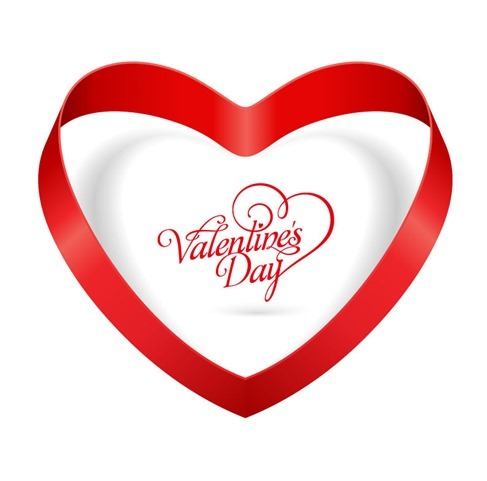 Heart Ribbon Valentines Day Vector Illustration