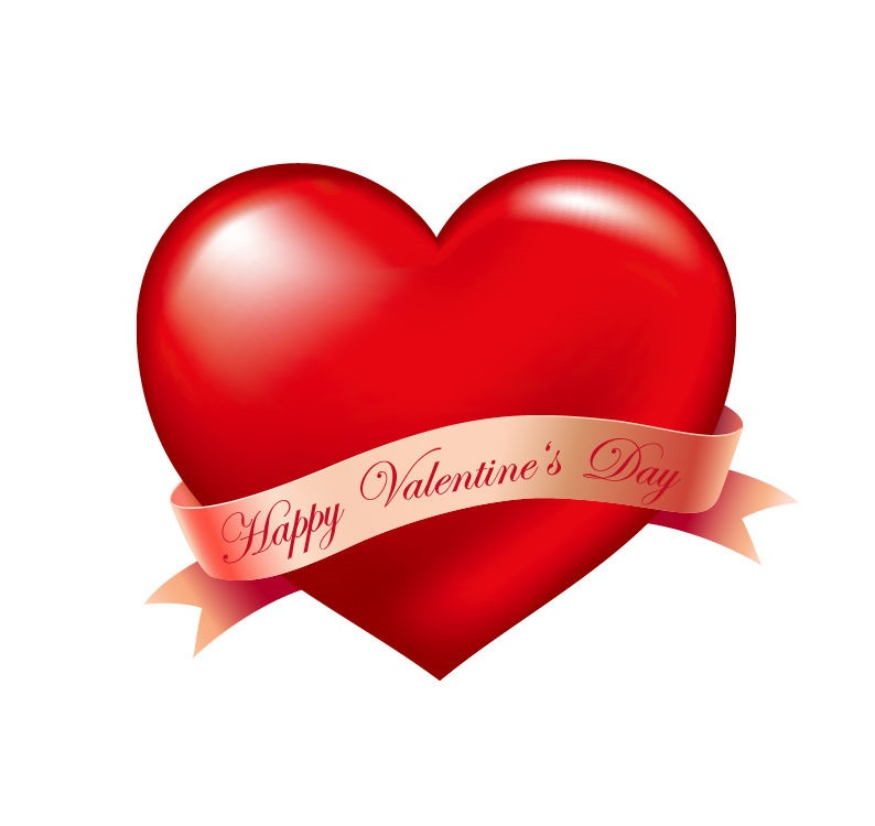 Red Heart And Ribbon Valentines Day Vector Illustration Free