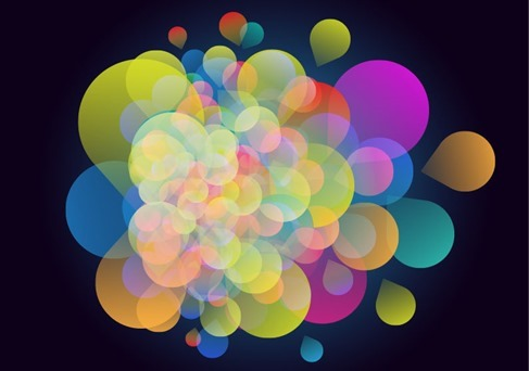 Abstract Colorful Design on Black Background Vector Illustration