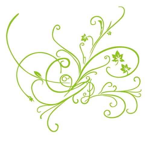 Green Vector Floral Ornament