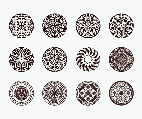 Vector Set of Beautiful Circle Ornament