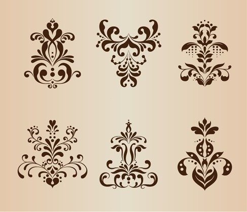 Abstract Symmetrical Floral Pattern Vector Set
