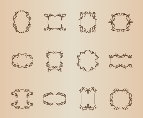 Retro Frames Vector Set