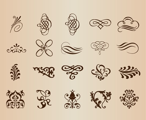 Abstract Calligraphic Elements Vector Set