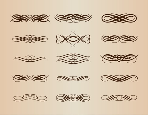 Calligraphic Design Elements Vector Set