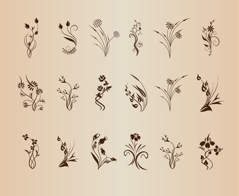 Set of Floral Design Element Vector