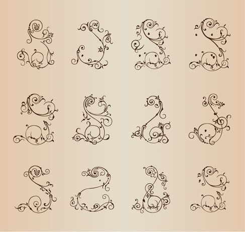 Vector Set of Floral Ornamental Elements for Design