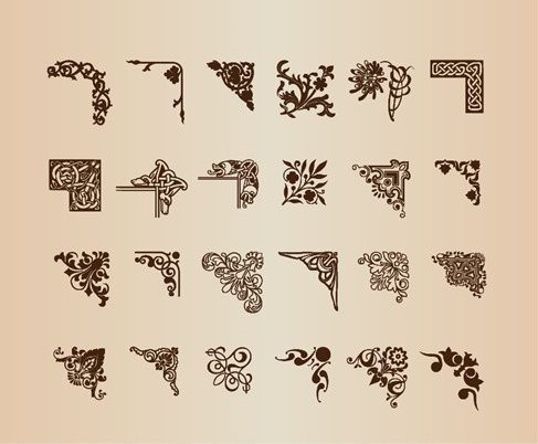Vintage Decorative Corner Elements for Design