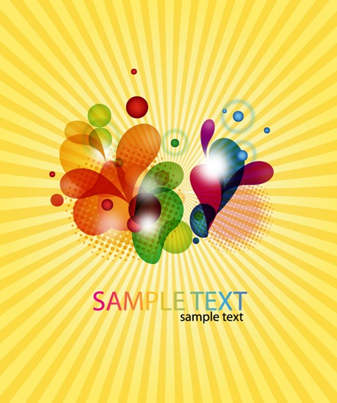 Abstract Coloured Design on Burst Background Vector Illustration