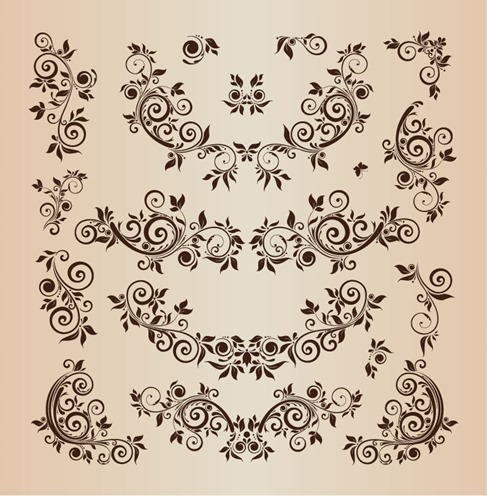 Floral Design Elements Vector Illustration Set