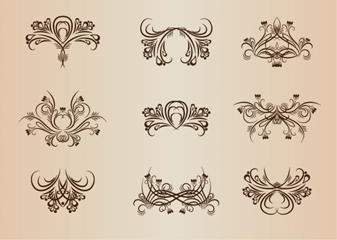 Vintage Design Elements Vector Illustration Set