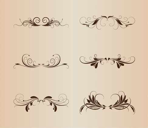 Vintage Floral Design Elements Vector Illustration Set