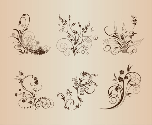 Vintage Floral Pattern Elements Vector Illustration