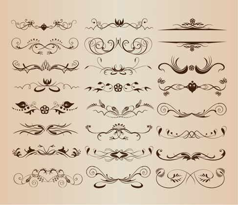 Vintage Ornament Decorative Design Elements Vector Set 2