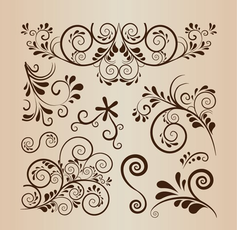 Floral Swirl Decoration Vector Element Collection