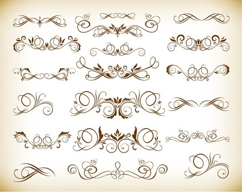 Ornament Desgin Floral Elements Vector Illustration