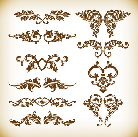 Retro Floral Element Vector Graphics Set