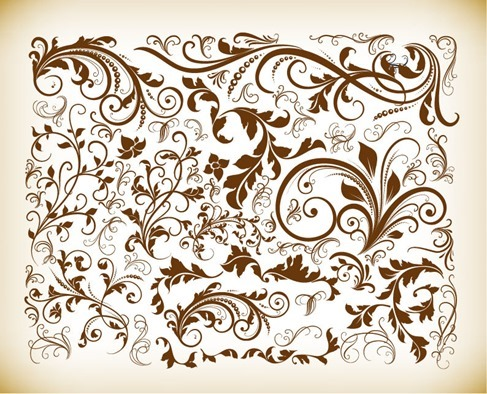 Vintage Design Floral Elements Vector Illustration Set