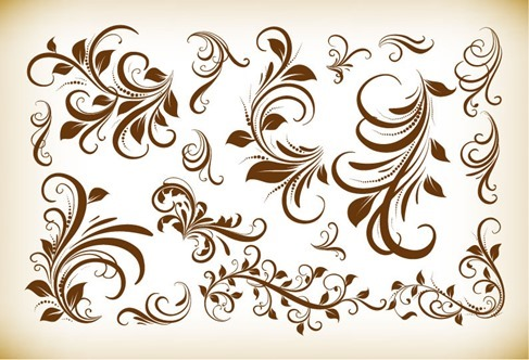 Vintage Floral Design Elements Vector Illustration Collection