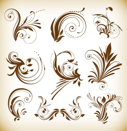 Vintage Floral Ornaments Vector Design Elements