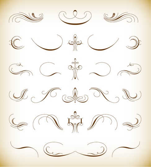 Calligraphic Floral Design Elements Vector Set